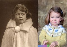 Princess Charlotte Bears Uncanny Resemblance to Queen Elizabeth II - The resemblance between the young Queen Elizabeth and Princess Charlotte is downright mesmerizing. From their girlish, Peter Pan collars to the side swoop of their lobs, there's no denying they hail from the same royal lineage.
