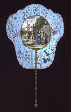Antiguo abanico de papel,pintado a mano,Francia 1770