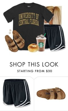"""Getting breakfast with my bff"" by aweaver-2 on Polyvore featuring NIKE, Birkenstock and Honora"