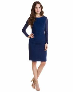 Kay Unger Mesh Ruched Long Sleeve Dress...love this for semi-formal concerts!  Shira and I bought matching ones:)