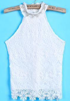 White+Off+the+Shoulder+Bead+Lace+Vest+US$20.79