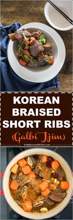 Galbi Jjim (Korean Braised Short Ribs) Recipe   MyKoreanKitchen.com #koreanfood #galbi #ribs via @mykoreankitchen