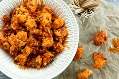 serving Buffalo Cauliflower Poppers