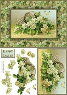Easter Flowers Quick Card on Craftsuprint designed by Russ Smith - A5 card front and decoupage layers using an image of cream flowers in a basket with a butterfly. This sheet doesn't have to be used for Easter; it's also suitable for birthdays ect. Also available as a 'Duo-Deco' sheet. - Now available for download!