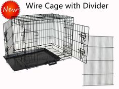 Homey Pet Wire Folding Portable Dog Cage with Ultra-Strong Pull out Tray and Divider Panel, Double Door,24' 30' 36' 42' 48', Black Pink Blue Green ** New and awesome dog product awaits you, Read it now  : Crates, Houses and Pens for dogs