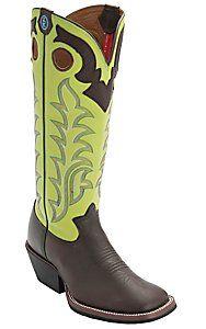 Tony Lama® 3R™ Men's Auburn Maverick w/ Green Tall Top Square Toe Buckaroo Boots