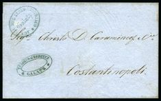 Galati – Galatz : Folded entire from Galati to Constantinopoli struck with oval AGENZIA DEL LLOYD AUSTRIACO / GALATZ handstamp in green (Tchilingirian fig.828) alongside oval blue 'Eulocio Georgieff / Galatz' company cachet.  For sale in our October 11th, 2018 online auction Ottoman Empire, Fig, Auction, October, Place Card Holders, Green, Blue, Ficus, Figs