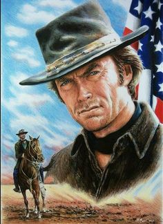 Clint Eastwood Drawing - Clint Eastwood American Legend Wf Edit by Andrew Read Actor Clint Eastwood, Scott Eastwood, Films Western, Western Art, Eastwood Movies, Westerns, American Legend, Cowboy Art, American Actors