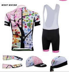 Womens-Cycling-Jersey-Bike-Bicycle-Clothing-Bib-Set-Top-Pants-Hat-Arm-Warmers