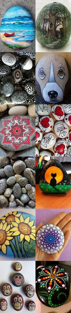 Easy Paint Rock For Try at Home (Stone Art & Rock Painting Ideas) Pebble Painting, Pebble Art, Stone Painting, Diy Painting, Rock Painting, Painting Stencils, Painting Patterns, Stone Crafts, Rock Crafts