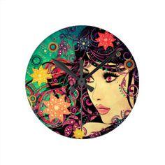 Grunge Summer Girl with Floral 3 Round Clock