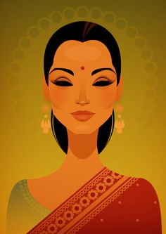 Miss India by Stanley Chow Illustration of Manchester England Art And Illustration, Illustrations Posters, Pop Art, India Art, Indian Paintings, Abstract Paintings, Art Paintings, Indian Artwork, Art Design