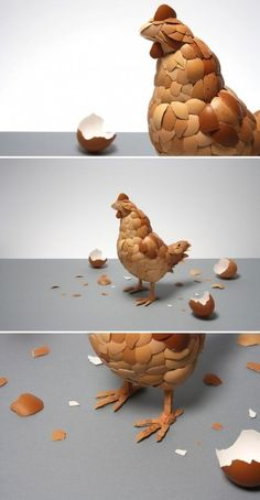 Here is one great way to reuse those chicken egg shells!! I love this:) A hot glue gun + Egg Shells = Chicken artwork!