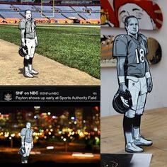 I just got a few of my Peyton Manning woodcuts back from NBC, and I'll be making them available for purchase. The pieces were commissioned by NBC for Sunday Night Football last year, though these particular cuts weren't aired. I do have the unaired footage shot by NBC. I also have some images used by SNF for social media.  This Manning cut is a one-off, the exact one that went to NBC and came back to me. For enquiries, please email me at joe.iurato@gmail.com