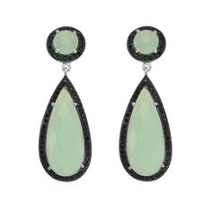 Drop Faceted Aqua Chalcedony Earrings Surrounded By Black Spinels In Rhodium Plated Sterling Silver