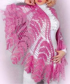 Beautiful crocheted shawl. Crochet Shawls schemes. | Housekeeping for the whole family