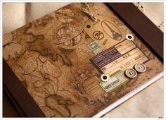 Álbum de viajes vintage, Otros, Personalizados, Papel, Scrapbooking, Papel, Álbumes