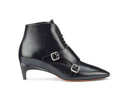 Santoni | Laced-up #ankleboot in calfskin with a #doublebuckle flap. #Santoni #Santonishoes #FW1516