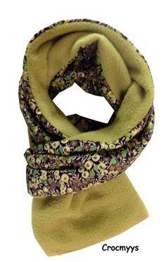 Echarpe liberty wiltshire vert doublé polaire : Echarpe, foulard, cravate par crocmyys