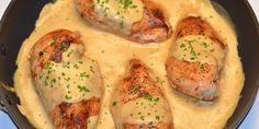 Saftig kylling svøbet ind i en dejlig cremet sennepssauce - se det er god aftensmad!