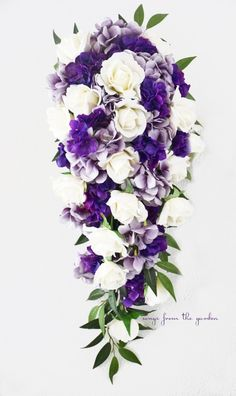 Cascade Bridal Bouquet Featuring Real Touch White Roses with Lavender and Purple Hydrangea - Cascading Tear Drop Bridal Bouquet