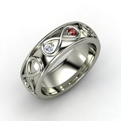 Wide Infinite Love Ring ~ 14K White Gold Ring with Red Garnet & Diamond  ~ by Gemvara