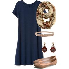 This would be cute for parent teacher conferences, or date day with the husband.  I like the simple, solid color t-shirt dress that I can dress up or down depending on the day.