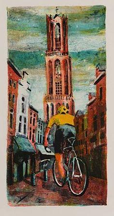 'UTRECHT, ZADELSTRAAT'- Litho, 2014. Speciaal gemaakt ter ere van Le Grand Départ van de Tour de France 2015 in Utrecht. #TDFutrecht