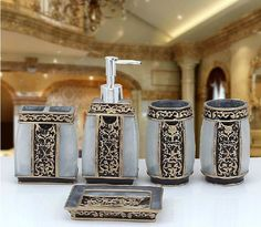 Set of 5 Bathroom Accessories Rome Aristocracy Bath Resin Cup Toothbrush Holder Dish Soap, Bathroom Essentials, Ceramic Bathroom Sink, Bathroom Accessories Sets, Soap Boxes, Bathroom Items, Bathroom Soap Dispenser, Bathroom Accessories, Bathroom