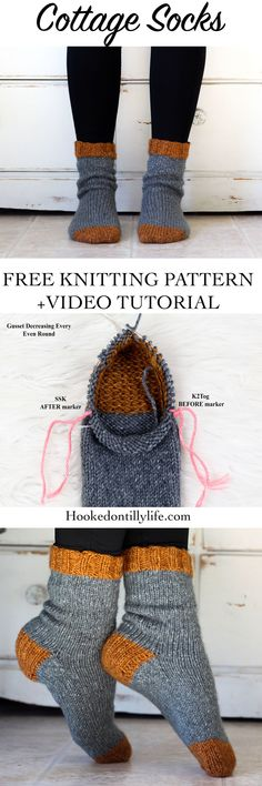 "Schöne Cottage Socks Knitting Tutorial "" Hooked On Tilly free knitting pattern, stricken socken, . Crochet Sock Pattern Free, Baby Knitting Patterns, Baby Patterns, Free Pattern, Crochet Patterns, Scarf Patterns, Pattern Ideas, Sewing Patterns, Easy Knitting"
