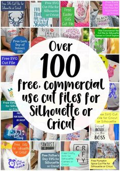 Over 100 free, commercial use cut files for Silhouette Cameo, Curio, Mint, Portrait, Cricut Explore, and Air! By cuttingforbusiness.com - learn to make money with your craft machine. by Marianne Helliwell