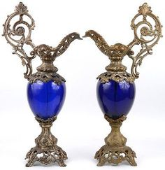 PAIR huge French vintage spelter Blue glass Ewers pitchers 1960's Gorgeous