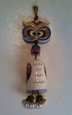 Ceramic Pottery Owl Bell Shaped Wind Chime Leather Cord  #Unbranded