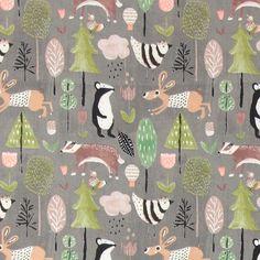 Bomull grå m abstrakt djur/skog tryck