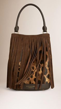 4ecd11c3a2e4 L toffee bit choc The Bucket Bag in Animal Print Calfskin And Fringing -  Image