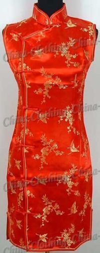 Chinese Party Cheongsam Mini Dress Red