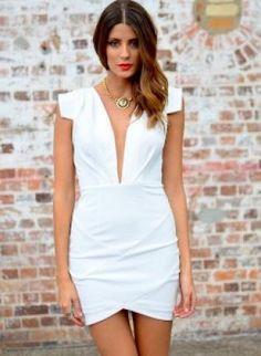 white bodycon dress #partydress #deepvneck