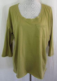 SUNDANCE CATALOG L Solid Green Cotton Modal Blend High Low Hem Top T Shirt #SundanceCatalog #KnitTop #Casual