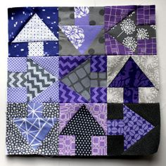 purple & grey arrow quilt block plus a bunch of other paper pieced quilt block patterns