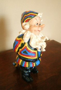 Hand Painted Colorful Glittery Rainbow Gnome by MAGICbyAnnaPanda, $22.00