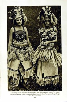 Antique Print of C1920 Pago Women Costumes Lava Samoan Beauty Lady