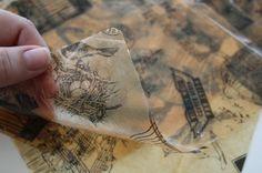 Using resin to coat Tissue Paper... Turns into semi transparent 'plastic' paper.