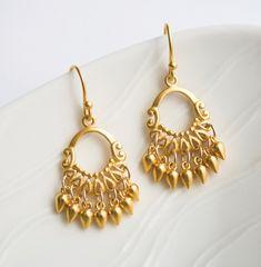 Chandelier Earrings, Gold Jewelry, Indian Summer. $125.00, via Etsy.
