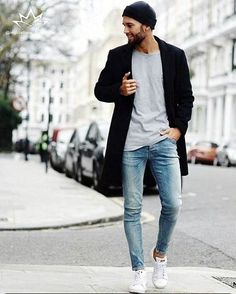 Classic heather tee, distressed jeans, cool sneakers or converse or Vans, classic overcoat