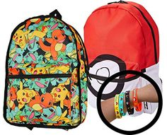 Pokemon Backpack Reversible Flip Pak with 4-Pack Bracelets * Find out @
