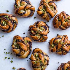 Chocolate and salted pistachio babka buns