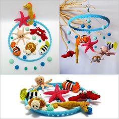 horgolt babaforgó: tengeri lények, buborékok és mosolyok / crochet baby mobile: sea creatures, bubbles and smiles #crochet #babymobile #sea