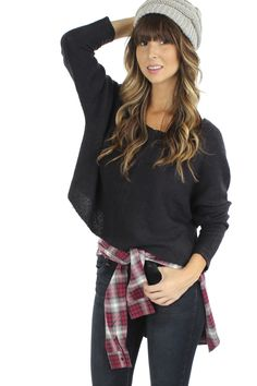 Navy Cropped Sweater $34.99 #sophieandtrey #tops #sweaters #croptops #cropped #cropsweater #knitwear