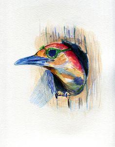Woodpeckers like sunglasses too. #illustration #art # watercolor #sunglasses