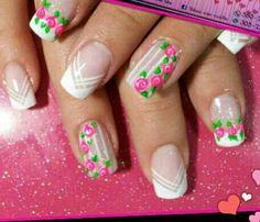 Nails Cute Nail Art, Cute Nails, Pretty Nails, Elegant Nail Art, Beautiful Nail Art, Nancy Nails, Hello Nails, Bridal Nail Art, Flower Nails